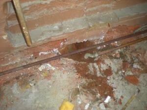 A steam supply pipe leaked as it passed into the garage.