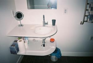 Frontal view of sink.