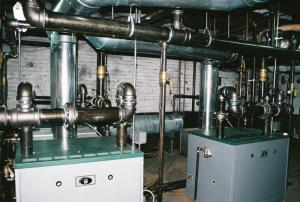 Another view of the three boilers with a sneak look at the reservoir tank in the background.