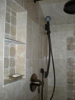 Shower valve and hand held installation.