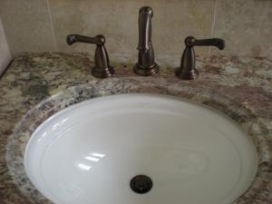 Close up of lav faucet.