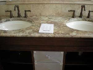 Double lav sinks and faucets.